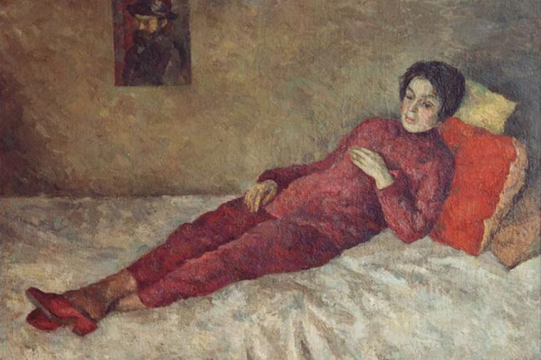 Р оберт Фальк. Женщина, лежащая на тахте под портретом Сезанна (Р.В.Идельсон) 1929. Х.м. 90х120.