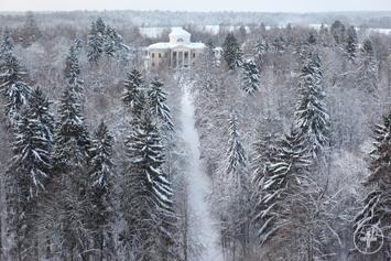 Эклектик замок Знаменское зима снег