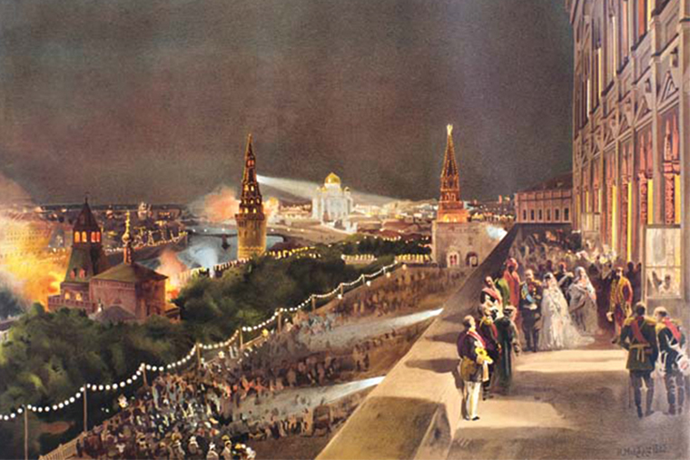 Коронация Александра III. Автор первой в Москве электрической иллюминации — Карл Сименс